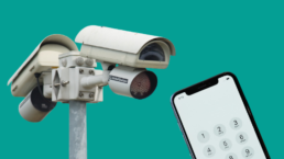 A CCTV camera tower and an iPhone against a green background.