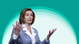 Nancy Pelosi against a white and green background