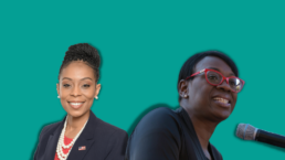 Nina Turner and Shontel Brown against a green background