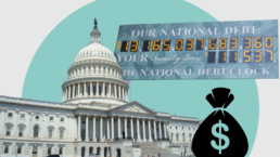 The capitol building appears next to a debt clock and a money bag