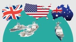 British, American, and Australian flags, with navy ships