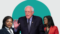 Bernie Sanders, Pramila Jayapal, Cori Bush against a green and white background