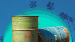oil drums and California palm trees