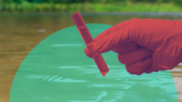 a hand bathedi n red pulls a vial of water from a water source to test for poison, stylized