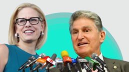 Joe Manchin and Kyrsten Sinema in front of some microphones