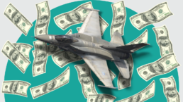 A fighter jet flies against a background of raining money