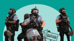 militarized police with guns and armor