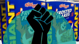 A raised fist appears in front of a Kellogg's cereal box