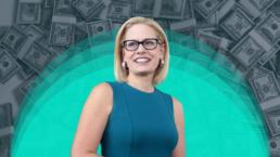 Kyrsten Sinema on a background of stacks of cash