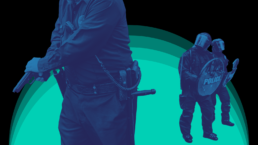 cops with weapons drawn on patrol