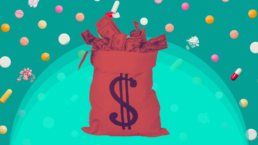 bag of money bathed in red over a background of scattered pills