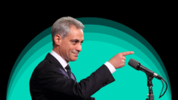 rahm emanuel pointing to the right